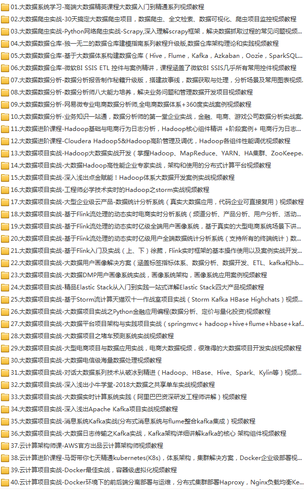40套大数据云计算高级实战精品,数据分析,数据仓库,数据爬虫,项目实战,用户画像,日志分析,Hadoop,Flink,Spark,Kafka,Storm,Docker,ElaticStack等视频教程插图(1)